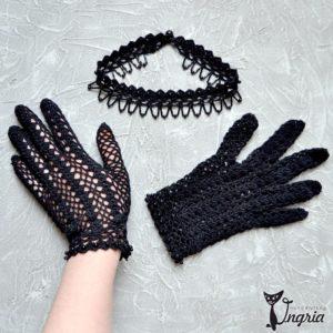 черные перчатки с лого 1